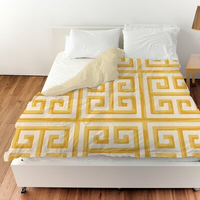 Greek Key II Duvet Cover Color: Yellow, Size: Twin