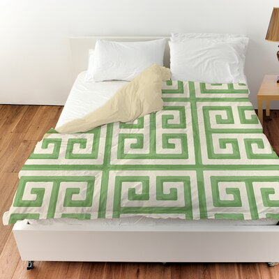 Greek Key II Duvet Cover Color: Mint, Size: King