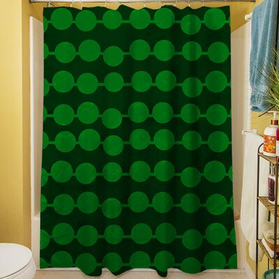 Line Dots Shower Curtain Color: Emerald