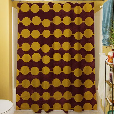 Line Dots Shower Curtain Color: Gold
