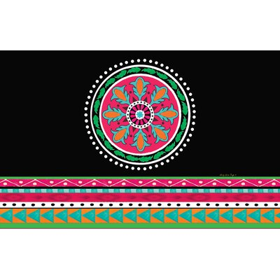 Boho Medallion Square Black Area Rug Rug Size: 31 x 110.5