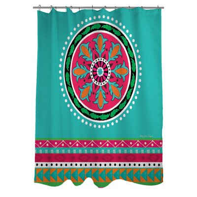 Boho Medallion Square Shower Curtain Color: Turquoise