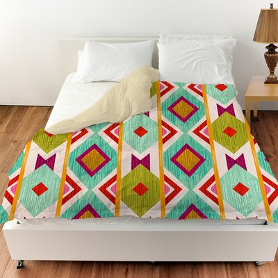 Ikat Duvet Cover Color: White, Size: King