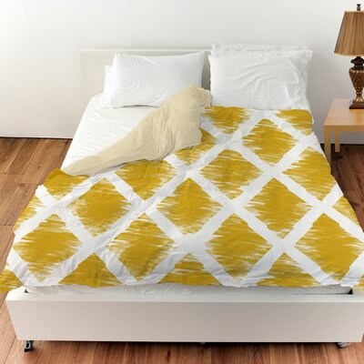Diamonds Duvet Cover Color: Gold, Size: Queen