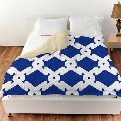 Modern Geometric Sapphire Duvet Cover Size: Queen