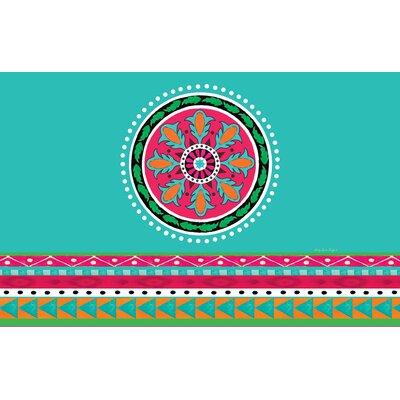 Boho Medallion Square Turquoise Area Rug Rug Size: 510 x 44