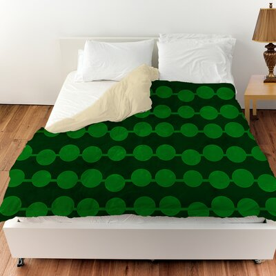 Line Dots Duvet Cover Color: Emerald, Size: King