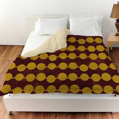 Line Dots Duvet Cover Color: Gold, Size: King