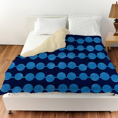 Line Dots Duvet Cover Color: Navy, Size: King