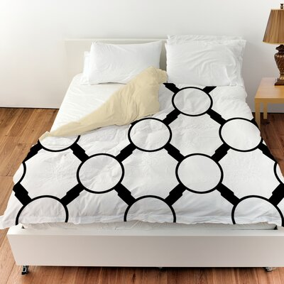 Band Duvet Cover Color: White, Size: Queen