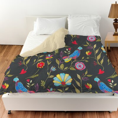 Early Bird Duvet Cover Color: Black, Size: Queen