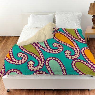 Paisley Duvet Cover Color: White, Size: King