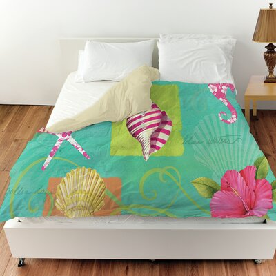 Tropical Beach Duvet Cover Size: King