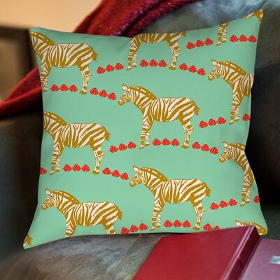 Zebra Printed Throw Pillow Size: 26 H x 26 W x 7 D, Color: Mint