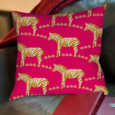 Zebra Printed Throw Pillow Size: 20 H x 20 W x 5 D, Color: Purple