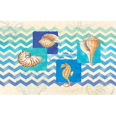 Deep Blue Sea Multi Chevron Rug Rug Size: 510 x 44