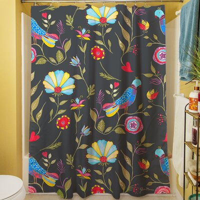 Early Bird Shower Curtain Color: Black