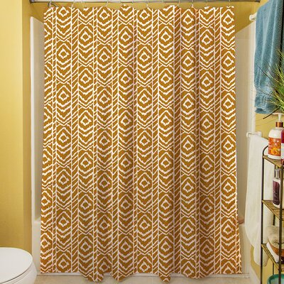 Sketched Ikat Shower Curtain Color: White