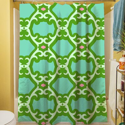 Francie Trellis Shower Curtain Color: Green