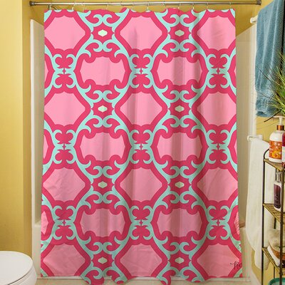 Francie Trellis Shower Curtain Color: Pink