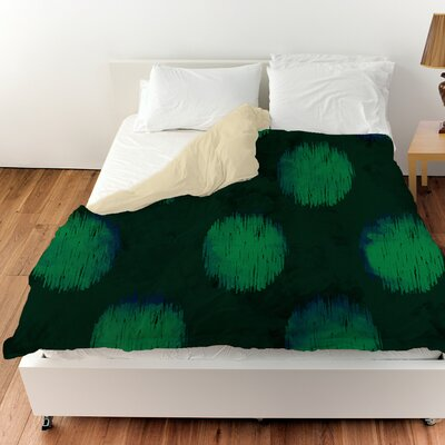 Big Dots Duvet Cover Color: Emerald, Size: Twin