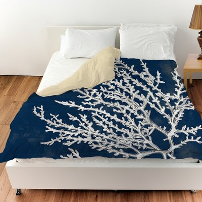Coastal Coral Duvet Cover Size: King