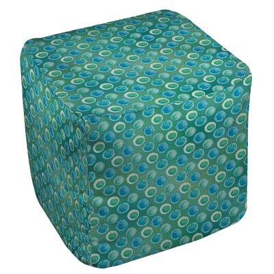 Aqua Bloom Dots Ottoman