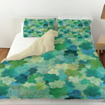 Aqua Bloom Water Blends Duvet Cover Size: Queen