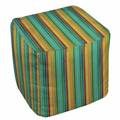 Aqua Bloom Stripes Ottoman
