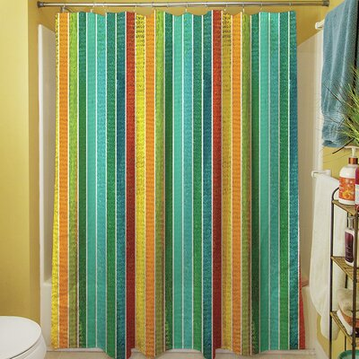 Aqua Bloom Stripes Shower Curtain