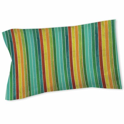 Aqua Bloom Stripes Sham Size: Twin