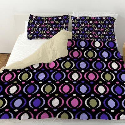 Banias Oval Duvet Cover Color: Purple, Size: Queen
