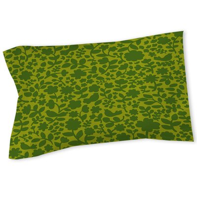 Ambrose Bird Sham Size: Queen/King, Color: Green