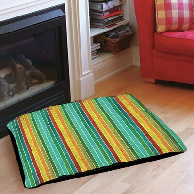 Aqua Bloom Stripes Pet Bed Size: 28 L x 18 W