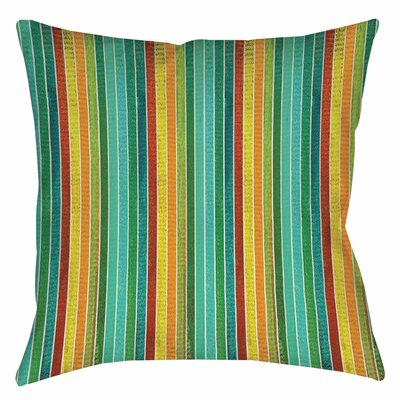 Aqua Bloom Stripes Indoor/Outdoor Throw Pillow Size: 16 H x 16 W x 4 D