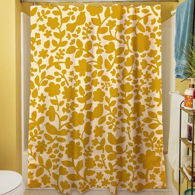 Ambrose Bird Shower Curtain Color: Yellow