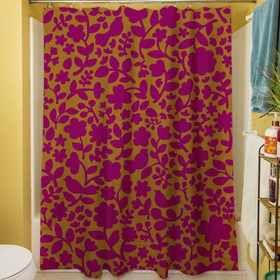 Ambrose Bird Shower Curtain Color: Fuchsia