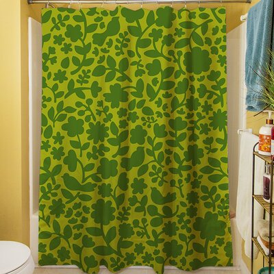 Ambrose Bird Shower Curtain Color: Green