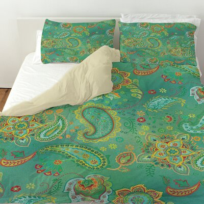 Aqua Bloom Paisley Duvet Cover Size: King, Color: Blue