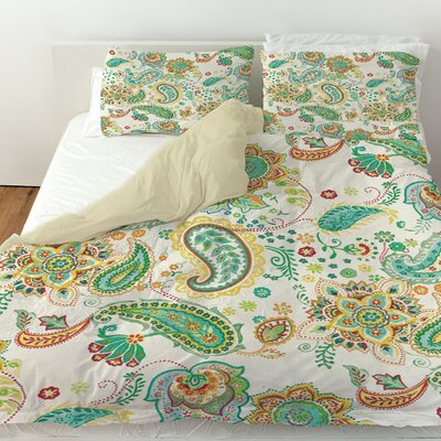 Aqua Bloom Paisley Duvet Cover Size: Queen, Color: White