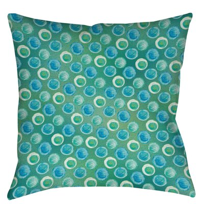 Aqua Bloom Dots Indoor/Outdoor Throw Pillow Size: 18