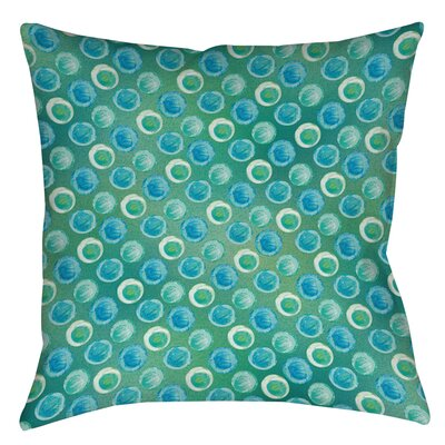 Aqua Bloom Dots Printed Throw Pillow Size: 14
