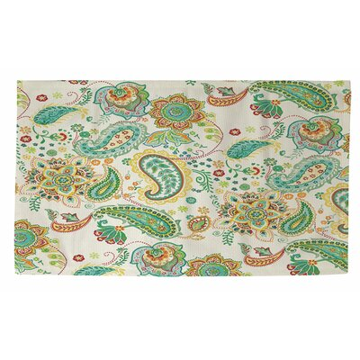 Aqua Bloom Paisley Area Rug Rug Size: 4 x 6
