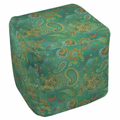 Aqua Bloom Paisley Ottoman Upholstery: Blue