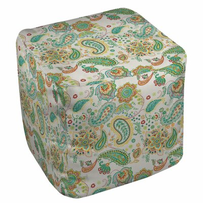 Aqua Bloom Paisley Ottoman Upholstery: White