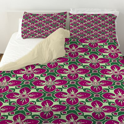 Anna Medallion 4 Duvet Cover Size: Queen, Color: Berry