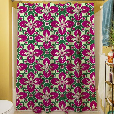 Anna Medallion IV Shower Curtain Color: Berry