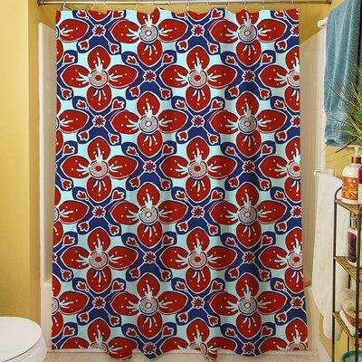 Anna Medallion IV Shower Curtain Color: Crimson