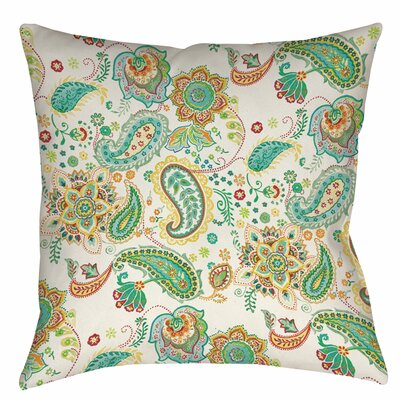 Aqua Bloom Paisley Printed Throw Pillow Size: 14 H x 14 W x 3 D, Color: White