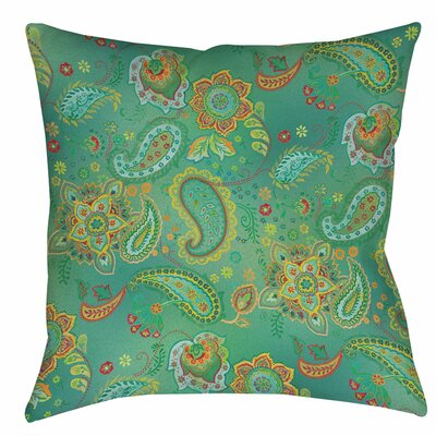 Aqua Bloom Paisley Printed Throw Pillow Size: 16 H x 16 W x 4 D, Color: Blue